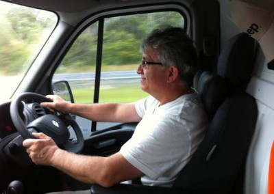 Ken driving his van