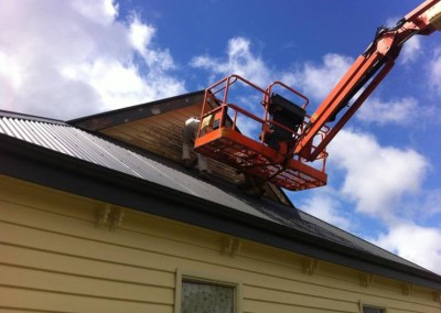 Residential painting exterior - us using the cherry picker